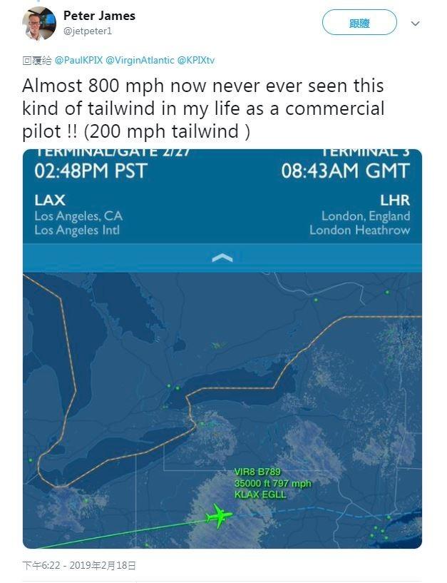 機長詹姆斯(Peter James)在推特上讚嘆:「作為一名傳統客機的機長,我這輩子沒見過這種順風!」(圖擷取自推特)