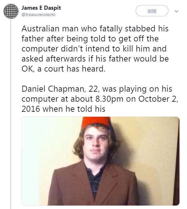 當年22歲的查普曼因不爽網路被關閉、無法打遊戲,拿刀刺死父親。(圗擷自推特)