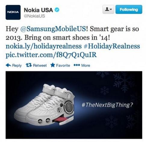 諾基亞在推特上嘲諷三星,大酸智慧型手錶明年就過時了,無法引領潮流。(圖擷取自推特)