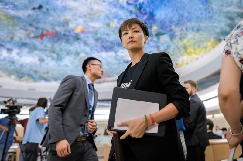 何韻詩7月8日在聯合國人權理事會,呼籲保護香港,並建議將中國從會議中除名。(法新社)