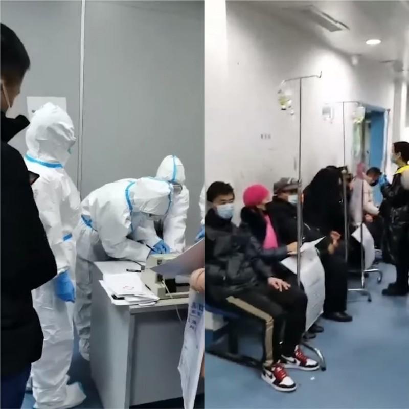 網路上流傳出一段影片顯示武漢醫院內部的狀況,還稱是「台灣網友同事」潛入拍攝的。(圖擷自高登討論區 HKGolden臉書)