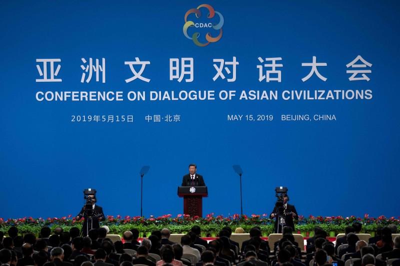 中國舉辦亞洲文明對話大會,中國國主席習近平致開幕辭。(法新社)