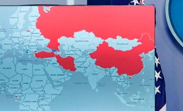 網友眼尖,發現地圖上中國不包含台灣。(圖擷取自法新社)