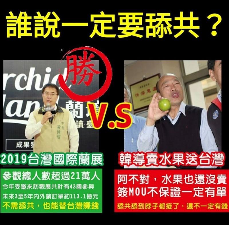 網友將黃偉哲與韓國瑜列在一起比較。(圖擷取自臉書粉專「只是堵藍」)