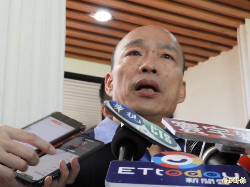 高雄市長韓國瑜力推「自經區」引發爭論,他今天(13日)在議會答詢故意說「發大財」,強調是方便議員剪接來消遣他。(記者葛祐豪攝)