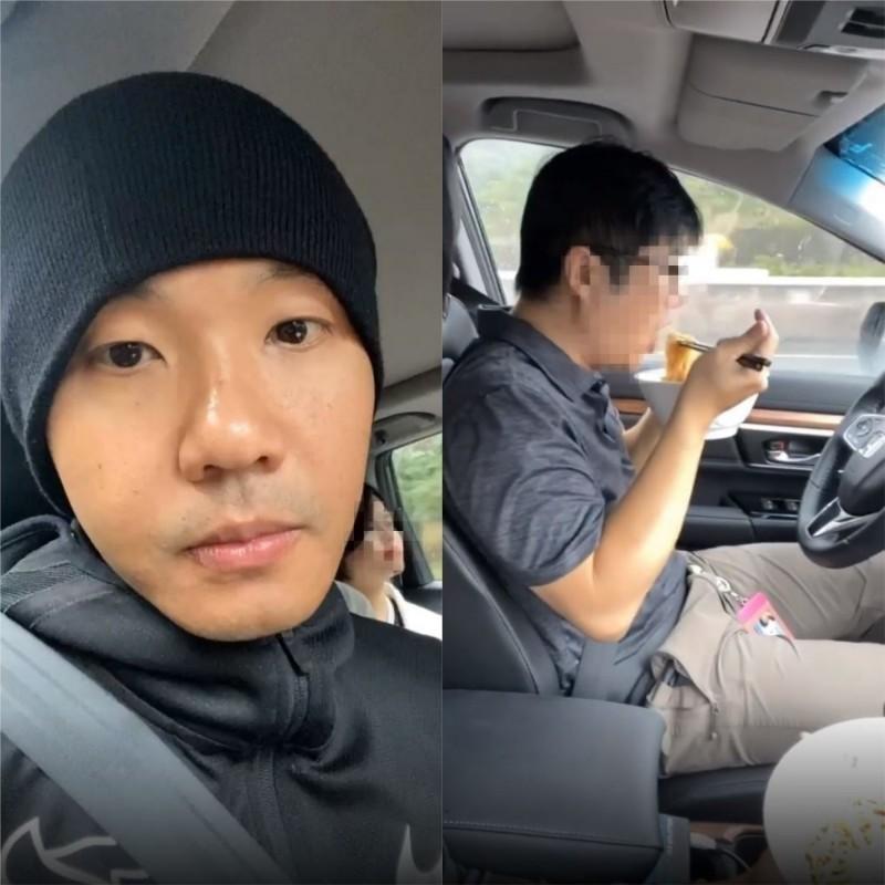 陳建州日前體驗自動駕駛,男性駕駛放開方向盤在車上大吃牛肉麵。(圖擷自blackielovelife Instagram)