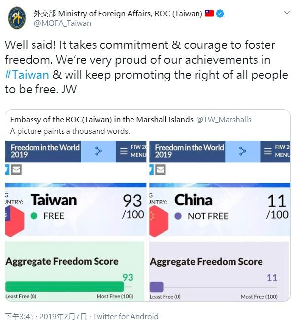 外交部推特為台灣的自由感到驕傲,強調會繼續促進所有人獲得自由的權利。(圖擷自Twitter)