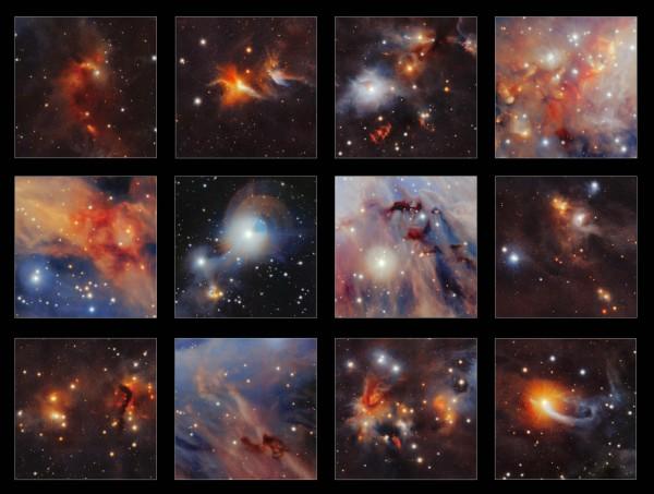 歐洲太空總署(ESA)今天公布美麗照片,拍攝的是銀河系獵戶座大星雲(Orion nebula,又稱Messier 42)內正在形成的新星。(法新社)