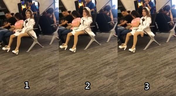 1名女子在公共場所用手撫摸自己下體後還嗅嗅手指,不雅動作均被旁人拍攝下來。(圖擷取自影片)