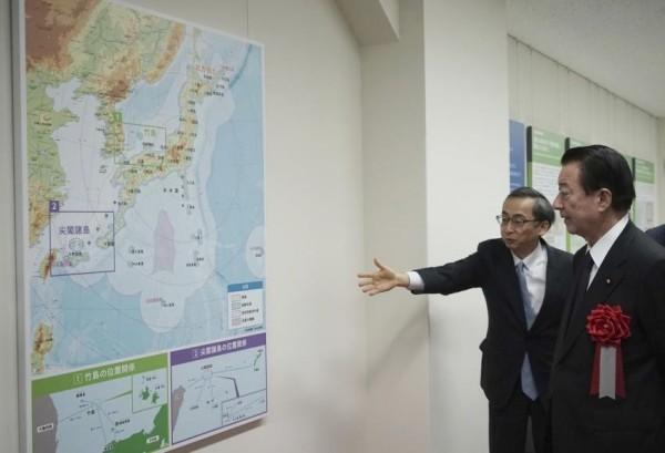 日本官方在東京設立領土主權展示館,其中強調釣魚台是日本固有領土。(美聯社)
