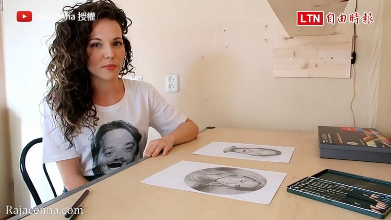 荷蘭藝術家Rajacenna Van Dam挑戰雙手同時作畫。(授權:Rajacenna Van Dam)