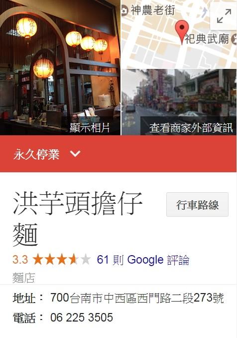 Google介紹頁面也顯示「洪芋頭擔仔麵」永久歇業。(圖取自Google)