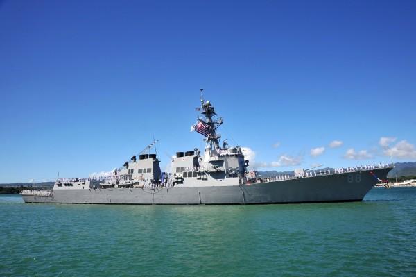 美軍柏克級神盾驅逐艦「普雷貝爾號」(見圖)。(圖擷取自美國海軍官網)