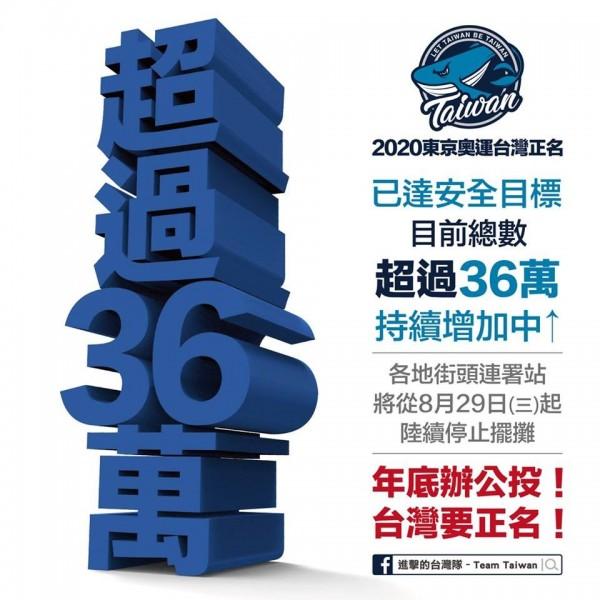 今天上午10時左右,連署書統計數為36萬份,「超過預估的安全數字」。(圖取自《2020東京奧運台灣正名後援會》臉書)