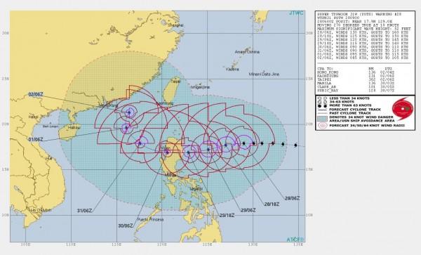 美軍預測玉兔颱風外圍環流從明日起將逐漸影響台灣。(圖擷取自JTWC)