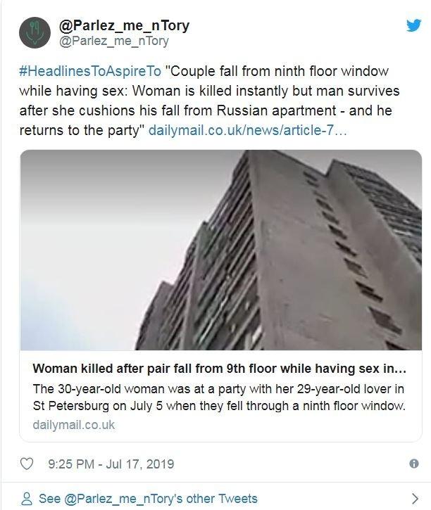 報導指出,2人一同墜樓時,男子藉著女子緩衝,落下時跌坐在女子身上而倖存。(翻攝推特)