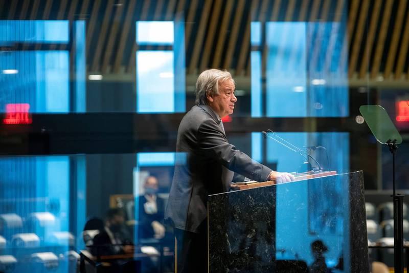 聯合國宣布12月12日將舉辦氣候峰會。圖為聯合國秘書長古特瑞斯。(路透)