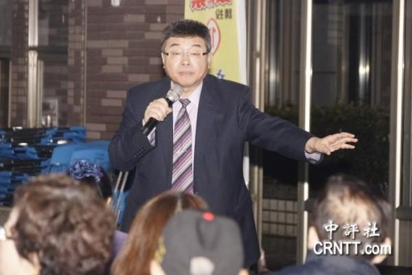 新黨不分區立委候選人邱毅到桃園眷村開講。(圖片擷自中國評論新聞網)
