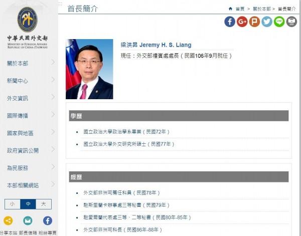駐史國大使一職將由外交部禮賓處處長梁洪昇接任。(外交部網站)