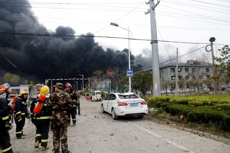 江蘇化工廠爆炸已造成47死、90傷。(歐新社)