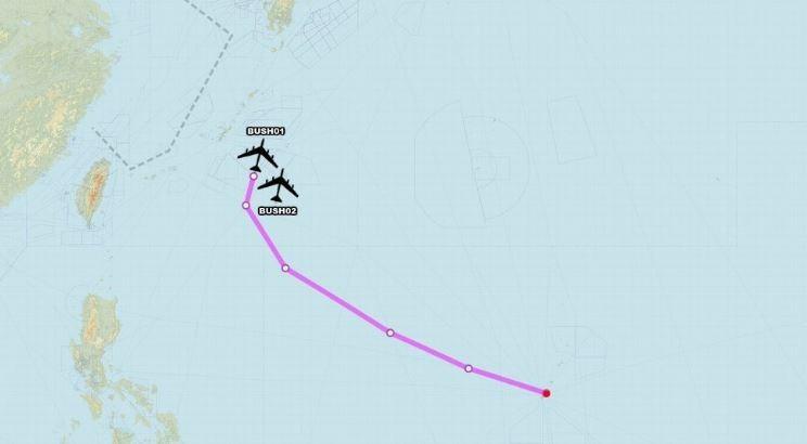 美國2架B-52轟炸機飛近中國東海,而後返回關島的美國空軍基地。(圖擷取自「Aircraft Spots」推特)