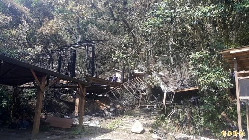 大火將排練場、樂器、道具等皆燒毀,近兩百件鼓具、樂器付之一炬。(記者楊心慧攝)