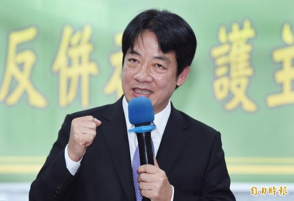 賴清德將2020年的總統大選定位為「反抗中國的併吞,反對一國兩制的一場選舉」。(記者廖振輝攝)