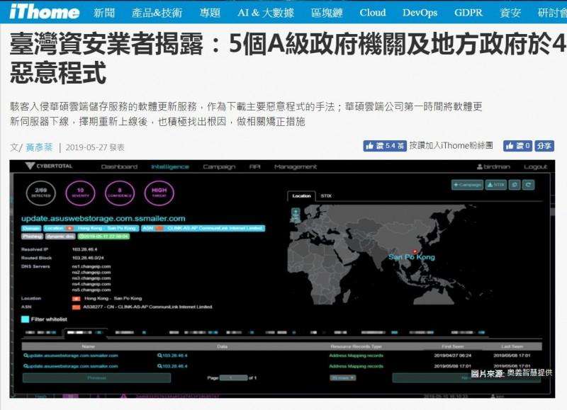 華碩雲端硬碟「Webstorage」的更新程式遭中國網軍植入惡意程式。(圖擷取自iThome)
