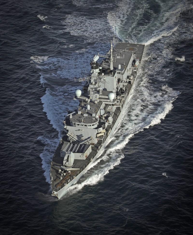 伊朗5艘武裝船隻企圖奪取英國油輪,幸好英國皇家海軍護衛艦蒙特羅斯號(HMS Montrose)成功嚇阻。圖為蒙特羅斯號。(歐新社)