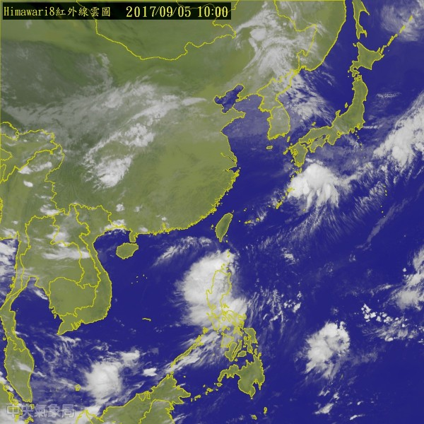 目前位於鵝鑾鼻東南方約650公里之海面上的熱帶性低氣壓持續逼近,氣象局已於今早10點10分發布熱帶性低氣壓特報。(圖擷取自中央氣象局)