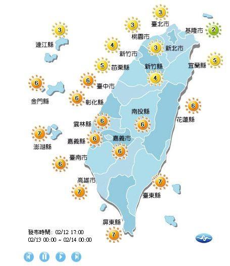 紫外線方面,各地僅基隆市的紫外線指數為低量級,另外有8個縣市達中量級、13個縣市達高量級。(圖擷取自中央氣象局)