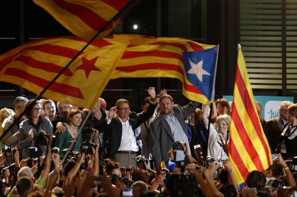 西班牙加泰隆尼亞大選,獨立派勝選。(美聯社)