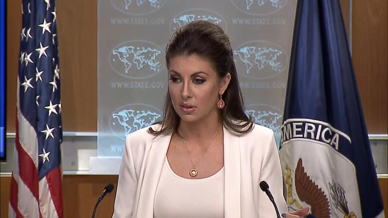 美國國務院發言人奧塔加斯(Morgan Ortagus)表示,中國在南海的軍事化行動是挑釁的,也損害了區域穩定。(圖擷取自美國國務院)