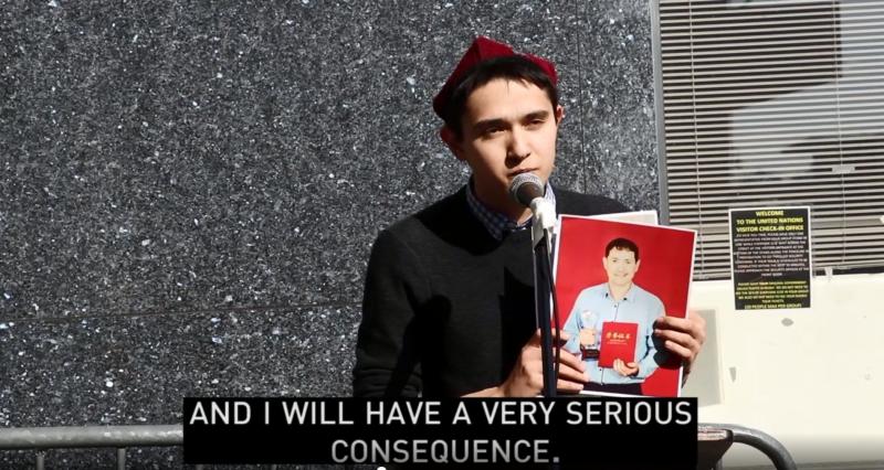 在美國留學的維吾爾族留學生阿爾弗雷德,父母都被中國政府送去「再教育營」,他認為這是中共對他海外留學及家庭的報復。(圖擷取自《NBC新聞》報導影片)