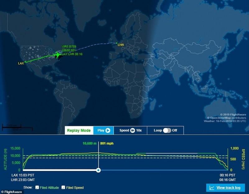 根據飛機追蹤軟體顯示,該架飛機一度達到801英里(1289公里)的最高速度。(圖擷取自FlightAware)