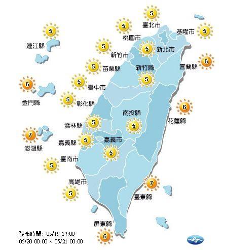 明日紫外線指數各地普遍為「中量級」及「高量級」。(圖擷取自中央氣象局)