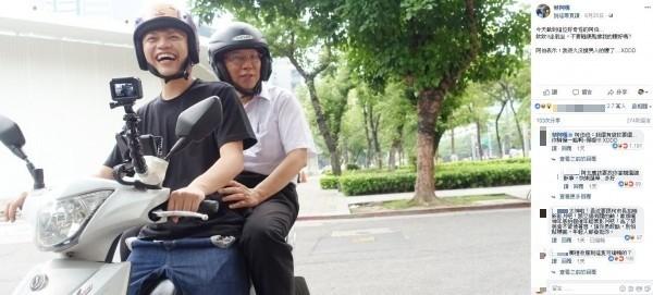 台北市長柯文哲和蔡阿嘎合拍宣導短片宣導機車安全。(圖擷取蔡阿嘎臉書)