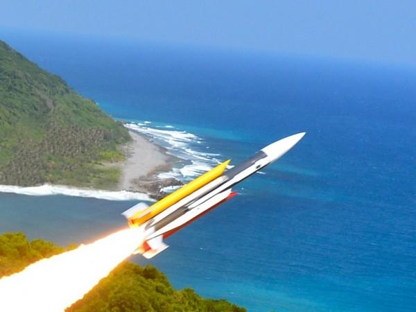 雄三反艦飛彈飛行畫面。(圖由中科院提供)