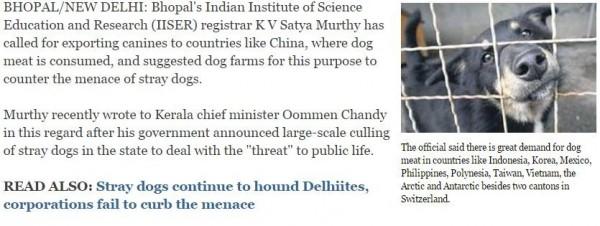 他認為狗肉除了在中國有市場外,在印尼、南韓、墨西哥、菲律賓、越南、台灣、南北極以及瑞士都有商機。(圖擷取印度時報)
