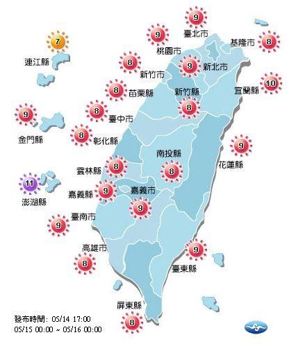 明日紫外線指數一樣偏高,除了連江縣是「高量級」,其餘地區都來到過量級,澎湖縣甚至來到危險級。(圖擷取自中央氣象局)