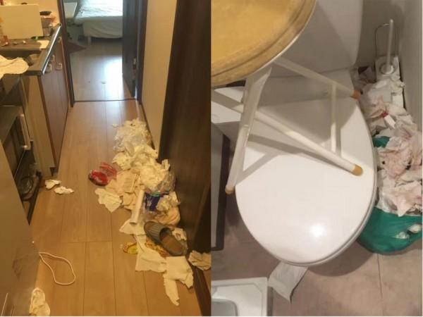 3名中國女遊客入住日本民宿,離開時卻留下大量垃圾。(圖擷取自微博)