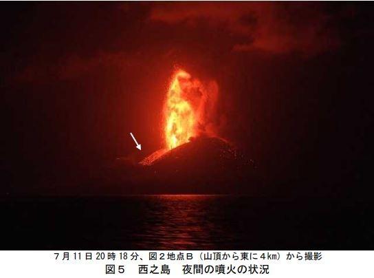 日本氣象廳15日宣布火山噴發狀況,在11日有大量火山灰、熔岩噴出,噴至高空200公尺處。(圖翻攝自日本氣象廳資料)