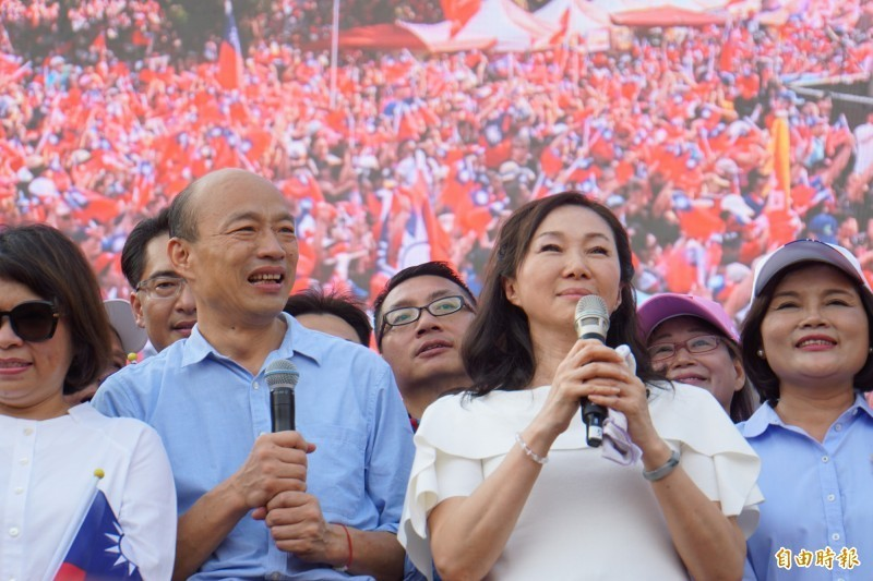 高雄市長韓國瑜今天(15日)到雲林造勢,現場聚集了許多支持者。(記者詹士弘攝)