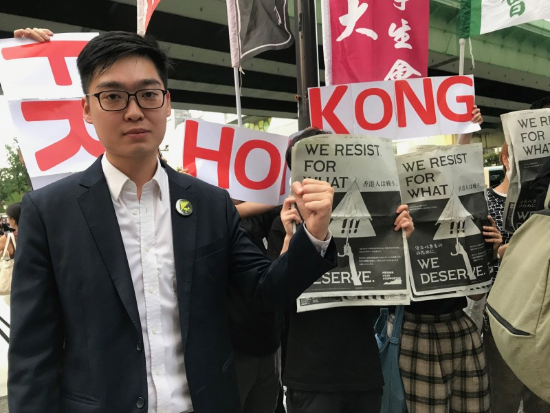 香港民族黨前召集人陳浩天昨晚在香港國際機場出境過關期間,也突然遭到警方扣留。(中央社資料照)