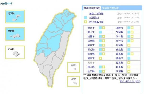 氣象局對16縣市發布低溫特報、18縣市強風特報。