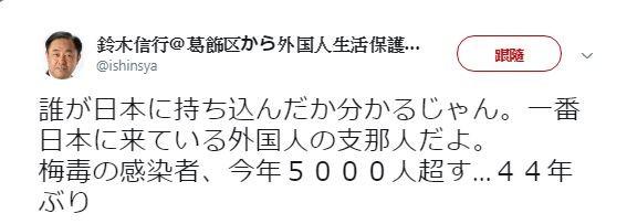鈴木信行於推特上,直接點名梅毒感染人數激增與中國人有關。(圖擷取自鈴木信行推特)