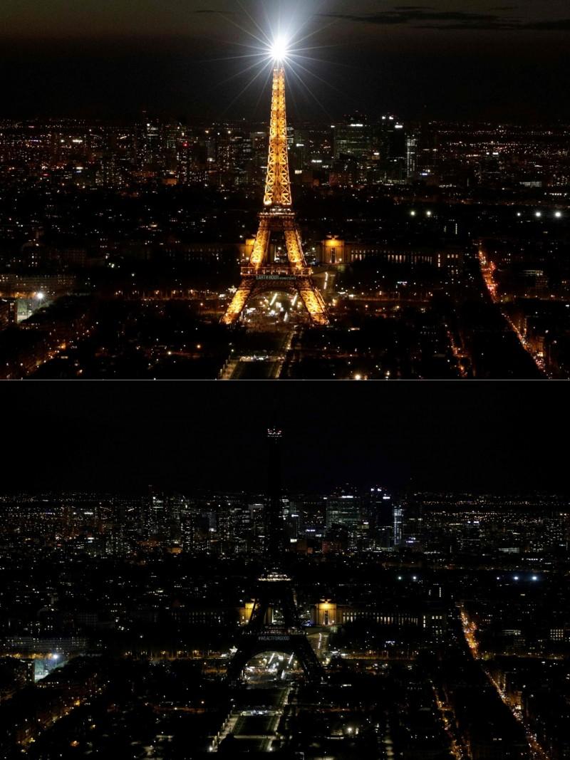 法國巴黎著名地標艾菲爾鐵塔(Eiffel Tower)響應「地球一小時」活動。(法新社)