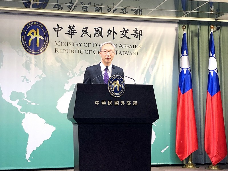 Department of North American Affairs Director Vincent Yao speaks at a news conference at the Ministry of Foreign Affairs in Taipei yesterday. Photo: CNA