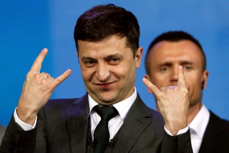 41歲演員澤倫斯基(Volodymyr Zelenskiy),以政治素人之姿當選烏克蘭總統。(路透社)