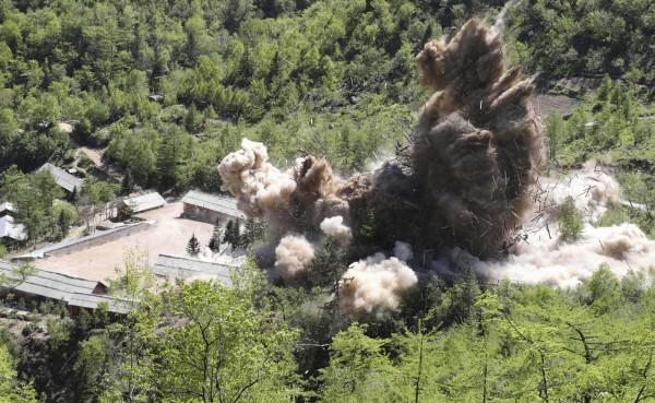 北韓去年摧毀豐溪里核試驗場,展現去核決心。(美聯社)